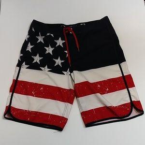 Op Board Shorts Flag Patriotic Sz 32